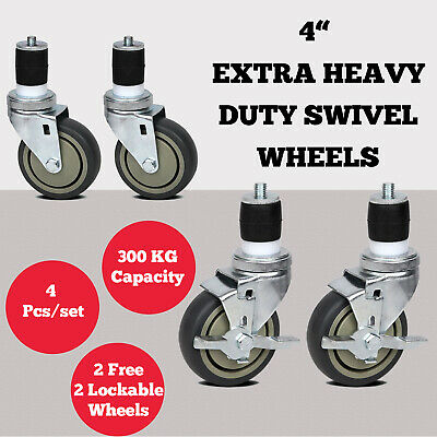 Wheels Castors For Our Stainless Steel Bench With Expanding Rubber Robust 4 Pack