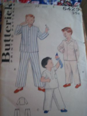Butterick Pattern 6429 Boys' Pajamas in Three Styles Size 4 Chest 23 cut