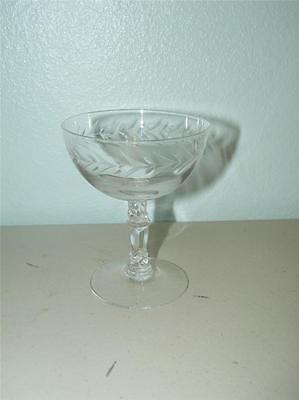 Vintage Fostoria Etched Holly Low Sherbert Champagne Glass 8577