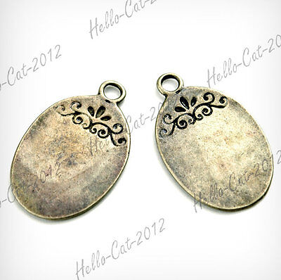 HQ! 25PCS OVAL CHARMS VINTAGE STYLE ANTIQUE BRASS FIT NECKLACE Wholesale TS7189