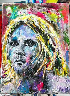 """KURT COBAIN "" CHUCK GREATREX  ""11 1/4 x  15"" ORIGINAL PAINTING OUTSIDER ART!"