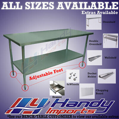 1524 x 610mm NEW 304 STAINLESS STEEL WORK BENCH KITCHEN FOOD PREP CATERING TABLE