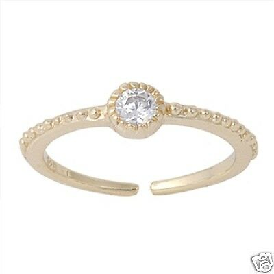 Solitaire Toe Ring Yellow Gold Plated Sterling Silver 925 Adjustable Jewelry