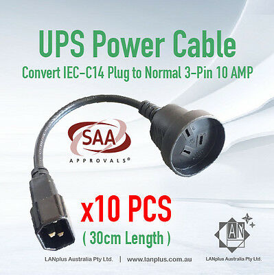 10 x IEC C14 to 3-pin Australia Power cable UPS to normal PC plug 30cm 10amp