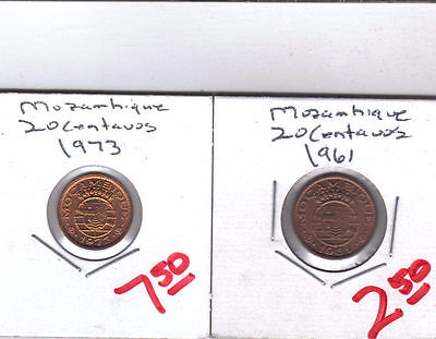 From Show Inv. - 2 UNC. 20 CENTAVO COINS from MOZAMBIQUE (1961 & 1973)