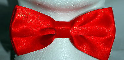 HIGH QUALITY PLAIN CHRISTMAS RED PreTied Mens Bow Tie Pre Tied Adjustable
