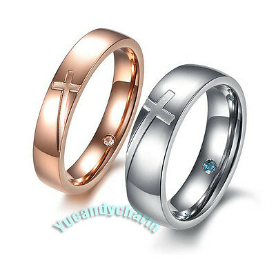 Set of 2 Made in Korea Cross 18K Rose Gold CZ Gem inside bands Couple LOVE Rings