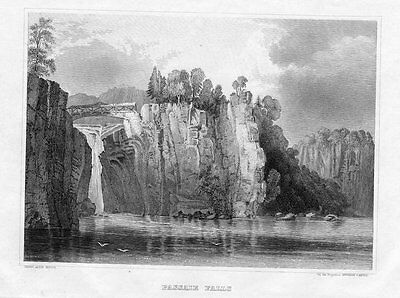 1850 - Great Falls Passaic river county New Jersey America Original Stahlstich