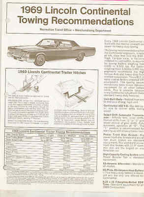 1969 Lincoln Continental Trailer Towing Brochure wt5895
