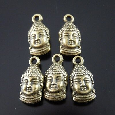 50X Antiqued Style Bronze Tone Buddha Pendant(2mm) Findings Charms 13*8*5mm