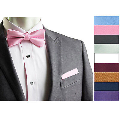 Men Satin Pocket Square Hankerchief Hanky Plain Solid Color Wedding Party