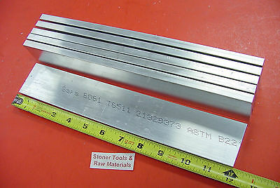 "6 Pieces 1/2"" X 2"" ALUMINUM 6061 FLAT BAR 12"" long T6511 .50"" Plate Mill Stock"
