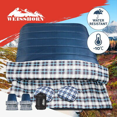 WEISSHORN Camping Envelope Sleeping Bag -10°C Single Thermal Tent Hiking Grey