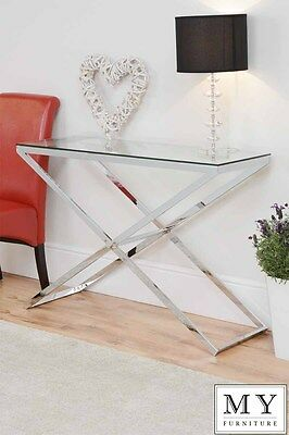 Anikka Modern chrome and glass console hallway table