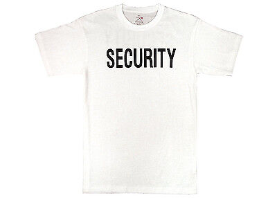 White Double Sided Security Guard Officer Agent Bouncer Uniform Patrol T-Shirt