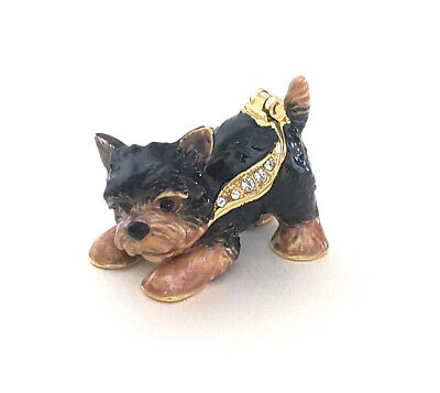 Whiskey the Yorkie Dog Pewter Bejeweled Hinged Miniature Trinket Box Kingspoint