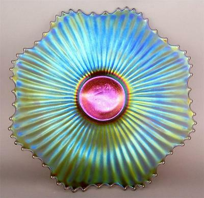 """SMOOTH RAYS by IMPERIAL ~ BLAZING SCARCE SMOKE CARNIVAL GLASS 9"""" PLATE"""