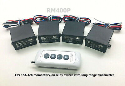 12v 4 channels MOMENTARY LONG RANGE wireless remote control relay switch RM400P