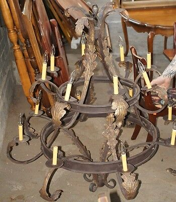 "1 Large Fantastic Antique Victorian Style Wrought Iron Chandelier 31"" x 50"""
