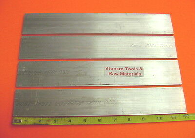 "4 Pieces 1/2"" X 2"" ALUMINUM 6061 FLAT BAR 12"" long T6511 .500"" Plate Mill Stock"