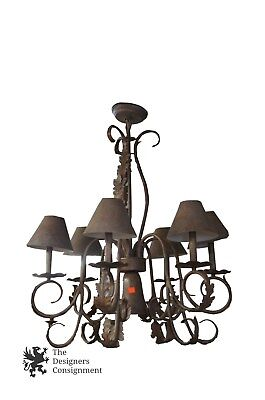 Contemporary Iron Chandelier W/ French Styling Acanthus Leaves Medal Shades