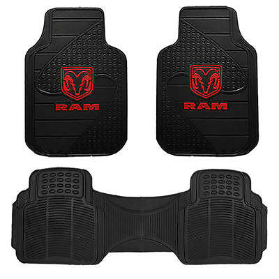 Ram Factory Logo All Rubber Front Floor Mats With  All Weather Runner 3Pc Set