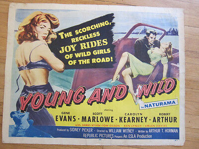 YOUNG & WILD Original 1958 Bad Girl Juvenile Delinquent movie poster