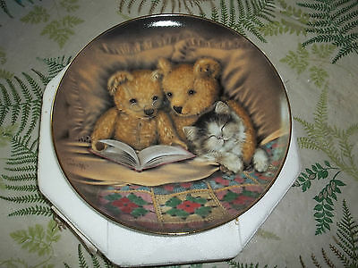 Franklin Mint Limited edition Teddy Bear plate/Sue Willis/Bedtime Story/cat/box