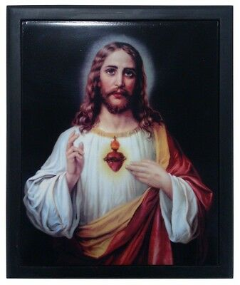 SACRED HEART OF JESUS LOVE FOR HUMANITY WOODEN FRAME ART TILE WALL PLAQUE