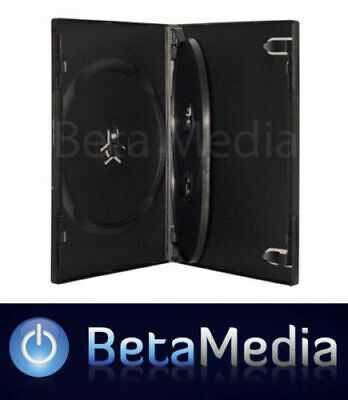 25 x Triple Black 14mm Quality CD / DVD Cover Cases - HOLDS 3 Discs