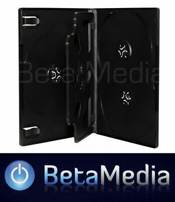 5 x Black 14mm ** HOLDS 5 Discs ** Quality CD / DVD Cover Cases