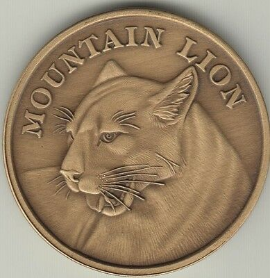 Mountain Lion coin antique bronze engravable medallion