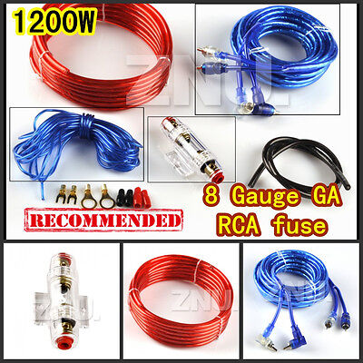 8 GAUGE POWER WIRE WIRING KIT 1500W INSTALL CAR Boat AMPLIFIER INSTALL + RCA