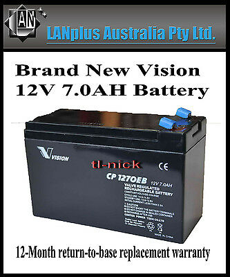 New VISION CP1270EB 12V 7Ah Rechargeable SLA Battery UPS Alarm Toy NBN CP1270