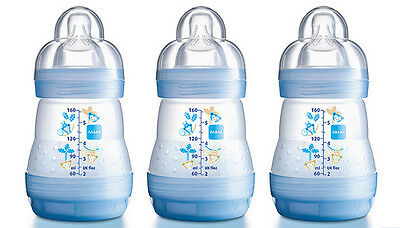 MAM Anti-Colic Bottles 160ml - Pack of 1 or 3 Choice of Pink, Green or Blue