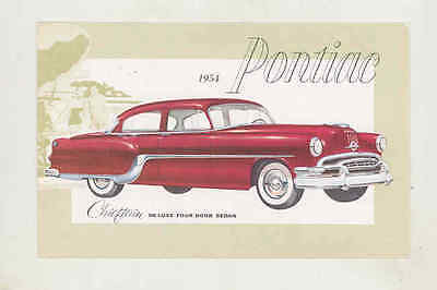 1954 Pontiac Chieftain Deluxe Sedan Factory Postcard wt6256