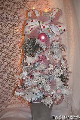 Completely Decorated Lighted Shabby Cottage Chic Christmas Tree Roses Ornaments