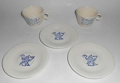 Knowles China Circus Clown Child's Demitasse 2 Cups/3 Saucers!