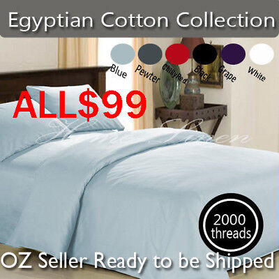 Deluxe 2000TC 100% Cotton Sheet Set / Pillowcases-Spoil yourself