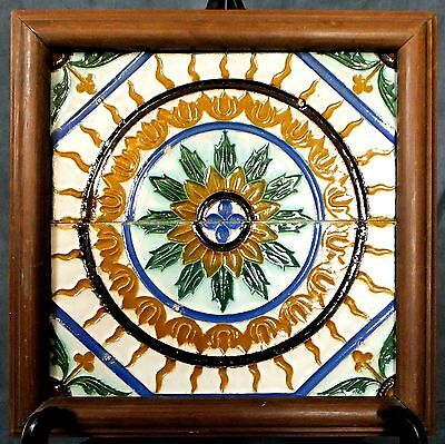 Unusual very large continental (Spanish/Italian) framed Tile panel