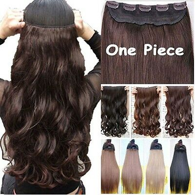 Clip In 1pcs Hair Extensions 5Clips In On straight wave Brown Blonde Black lts