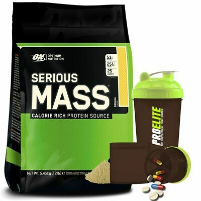 Optimum Nutrition ON Serious Mass Muscle Size Gainer 5.4kg+ProElite Smart Shake