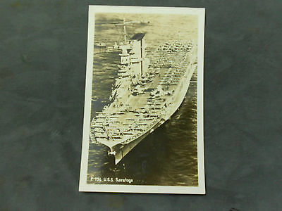 Vintage Wwii P-736 Uss Saratoga Ready For Action Postcard  Not Mailed