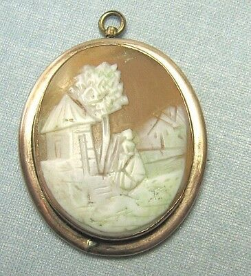 "Gold Plate Real Shell Cameo Pin / Pendant   1 3/4"" x 1 1/2"""