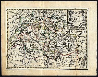 Rare Antique Map-SWITZERLAND-CANTONS-de Leth-1770