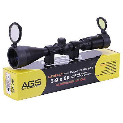 AGS Cobalt 3-9x50 Illuminated Mil Dot Air Rifle Scope Telescopic Sight + MOUNTS