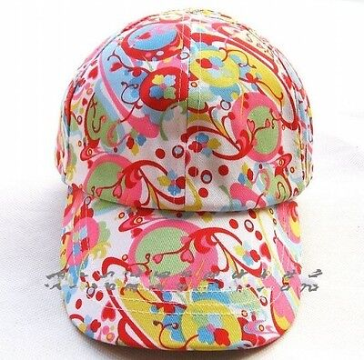 kids Girls Children Floral Cotton Pink Baseball Golf Travel Sun Cap Hat 2-3yrs