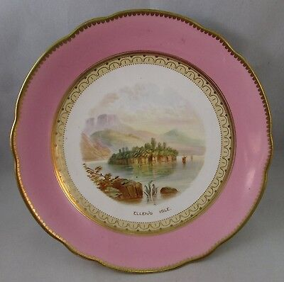 Antique Old Paris pink compote pedestal Ellen's Isle hand painted 19th