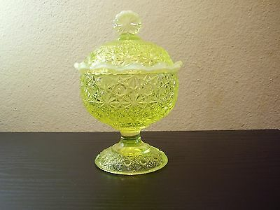 L G Wright Glass Daisy and Button Vaseline Opalescent Compote and Lid