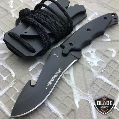 "7"" BLACK Tactical Skinner Gut Hook Spear Blade Neck Knife w/ Sheath & Whistle"